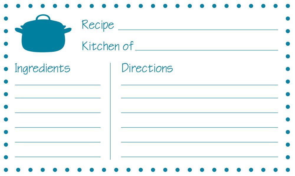 free-printable-recipe-card | ESL | Pinterest | Recipe cards, Free ...