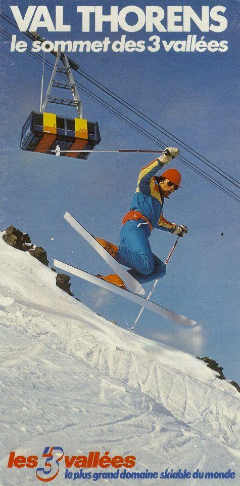 Vieille affiche de ski à Val Thorens (avec le téléphérique de la Cime Caron !)