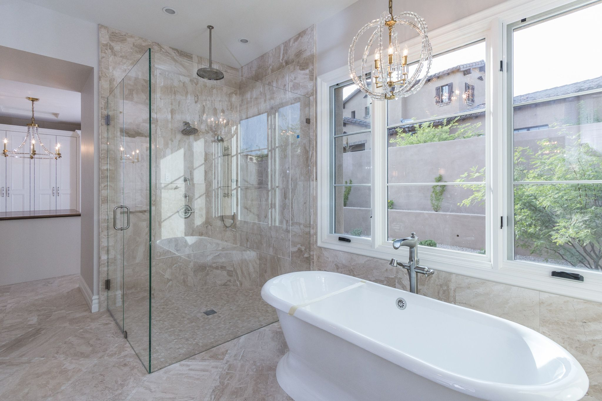 Beautiful Master Bathroom covered in our versatile Diana Royal ...