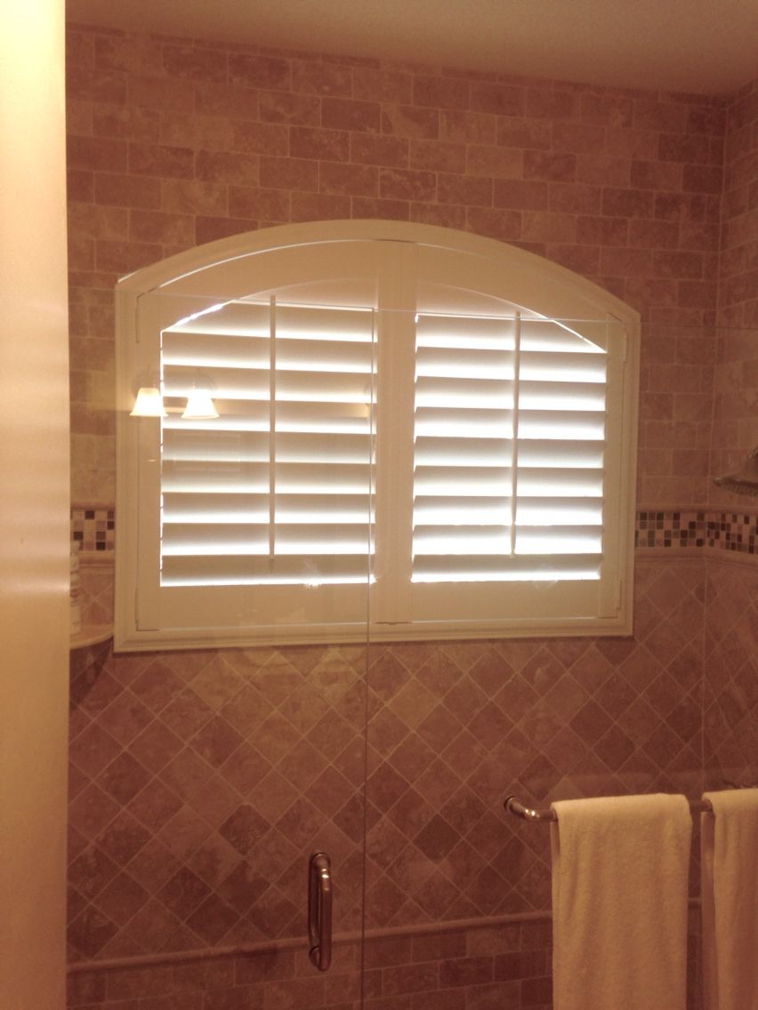 Bathroom Arch Window With Polywood 3 5 Louver Plantation Shutters Stainless Steel Hinges To Avoid Rust By Elite Decor Treatments