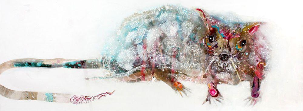 Rats the size of Elephants       150cm X 60cm       Ink & Acrylic on Canvas   Amanda Krantz