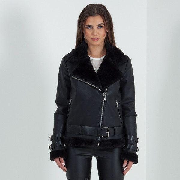 Women's Shearling Biker Jacket (790 DKK) ❤ liked on Polyvore ...