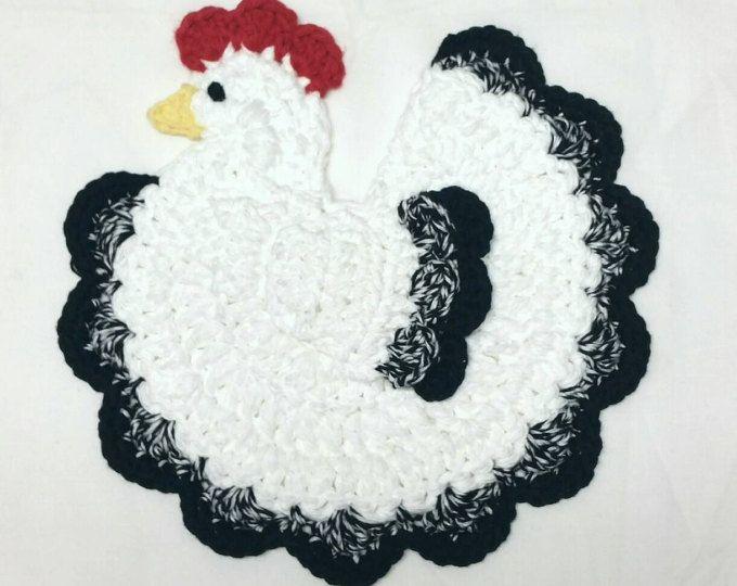 Gallo pollo tomaollas país cocina decoración Crochet olla a mano ...