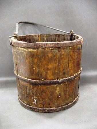 Antique Hand Made Well Bucket Look At The Hammered Handle And The