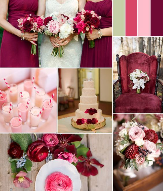 Image Result For Burgundy Gold Green Wedding Theme
