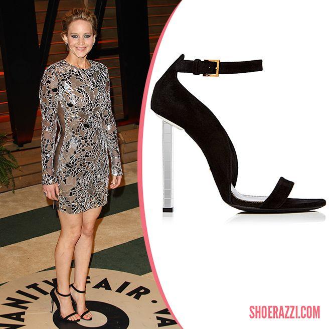 Jennifer Lawrence in Tom Ford Black Suede Ankle-Strap ...