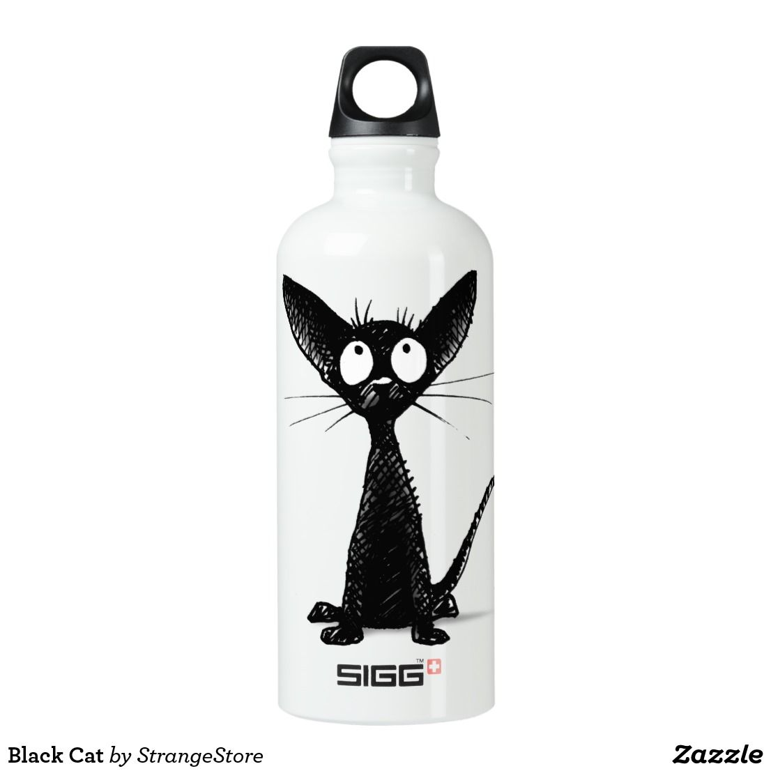 Black Cat Water Bottle Zazzle Com Water Bottle Sigg Water Bottle Bottle