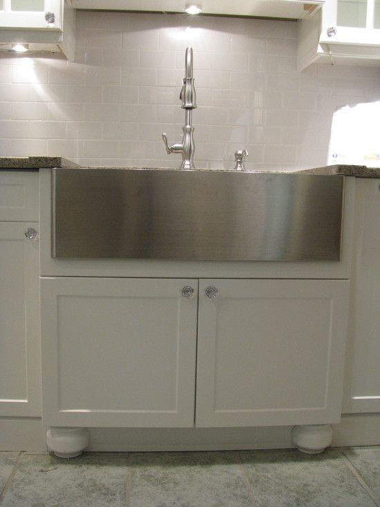 Example Of Stainless Apron Front Sink In Traditional White