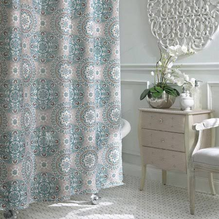 Turquoise Brown Grey Shower Curtain
