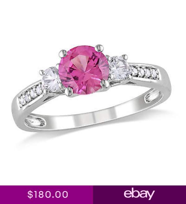 10k White Gold Diamond And 1 38 Ct Pink Sapphire White Sapphire 3 Stone Ring Diamond Accent Engagement Rings White Gold Rings White Sapphire Ring