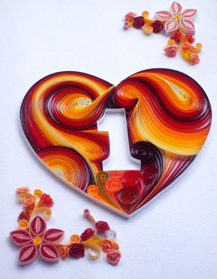 Quilled anniversary card also quilling paper rh pinterest