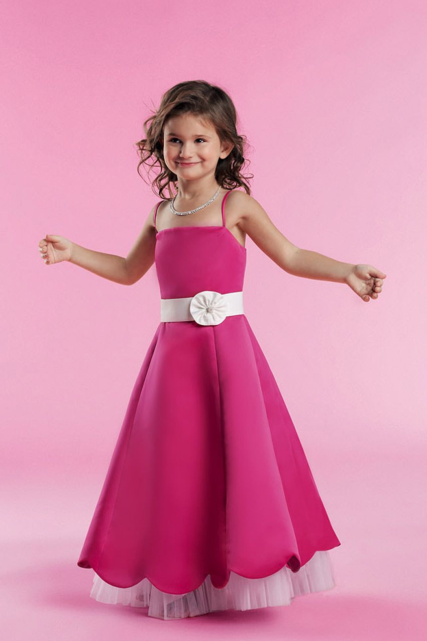 Natural waist sleeveless taffeta charming flower girl dress | flower ...