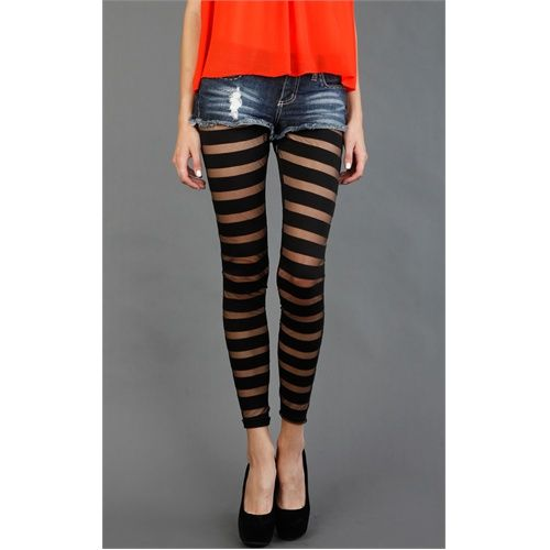 7007D5 Black See Thru and Solid Leggings and Womens Fashion Clothing u0026 Shoes - Make Me Chic ...