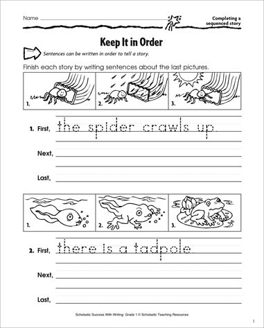 edit sentences first grade | math worksheet : completing a sequenced ...