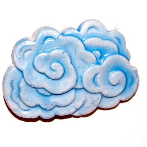Handmade Ceramic Blue Rain Cloud Weather Brooch Spring :: Psycho ceramics UK