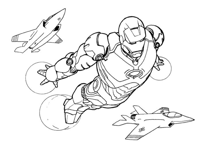 iron man fly with airplane coloring page