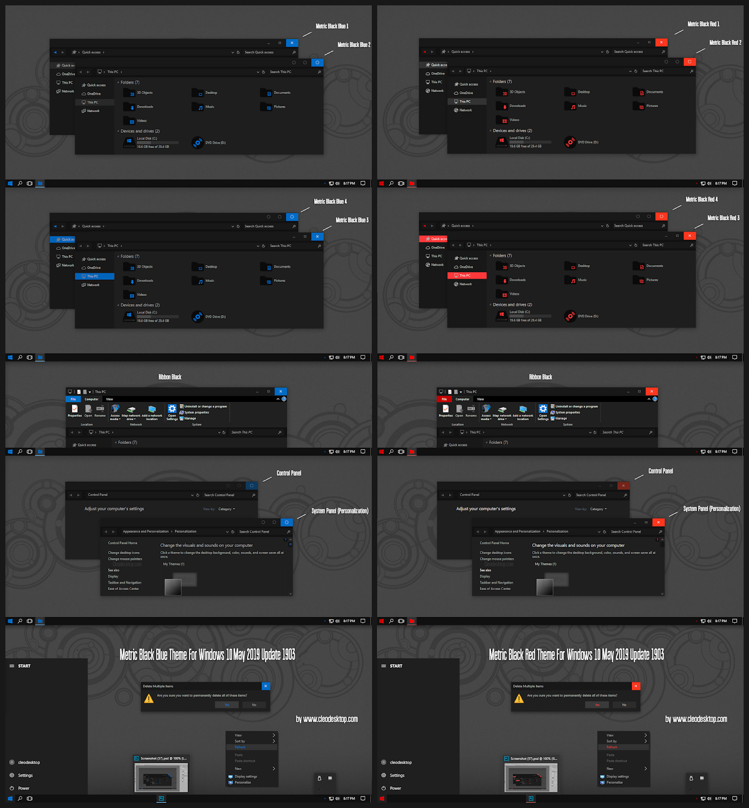 Metric Black Blue And Red Theme Windows10 May 2019 Update