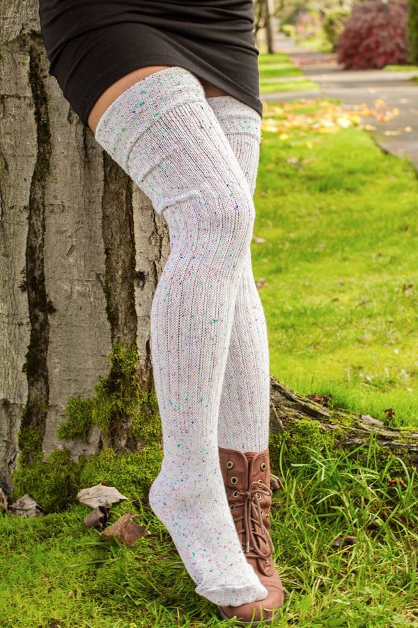 8e2b7a101 Confetti M45s Sock Dream thigh high socks pair with tight long sleeve dress