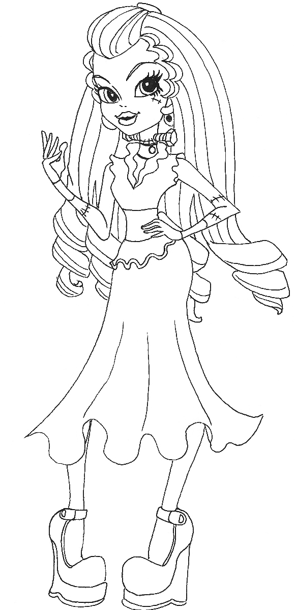 Monster High Frankie Stein Wears Dresses Coloring Pages  Home