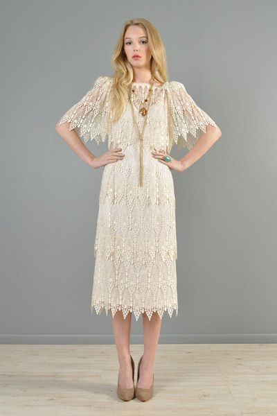 Fringed, beaded, scalloped and caped vintage wedding dress