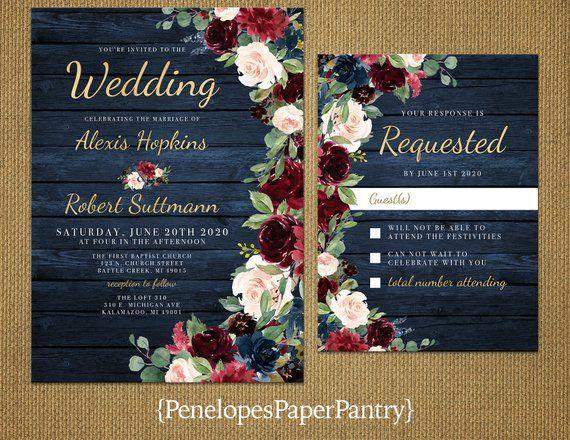 Photo of Invitación de boda de otoño floral azul marino rústico, borgoña, rubor, azul marino, rosas, madera de granero, impresión dorada, brillante, invitación impresa, conjunto de boda