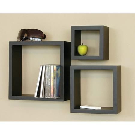 Kieragrace Kg Cubbi Floating Wall Shelves Black Set Of 3 Walmart Com Cube Wall Shelf Wood Wall Shelf Floating Shelves