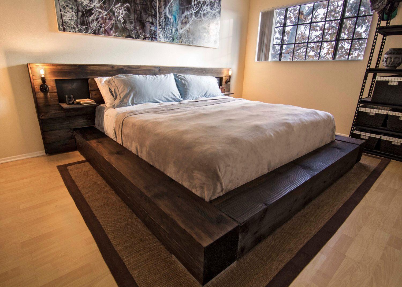 "King Platform Bed. Solid 10"" Doug Fir Frame. Drop down"