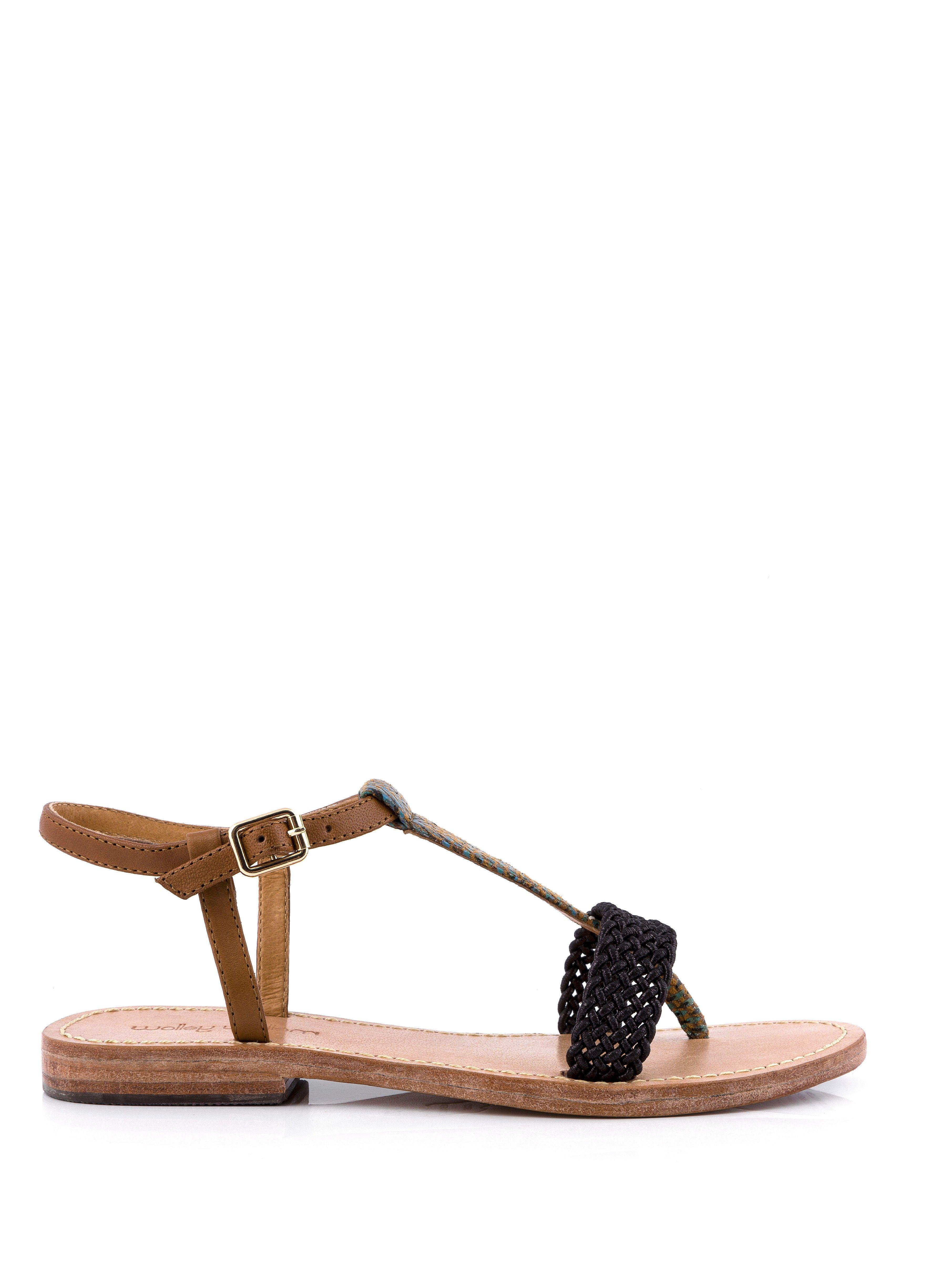 sandale plate sahary marron - sandales plates - chaussures femme