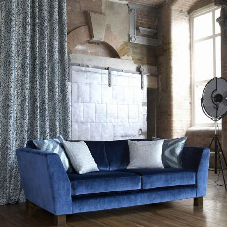 Kai   Janco Fabric Collection   Large Sofa In Royal Blue Velour, With Pale  Blue