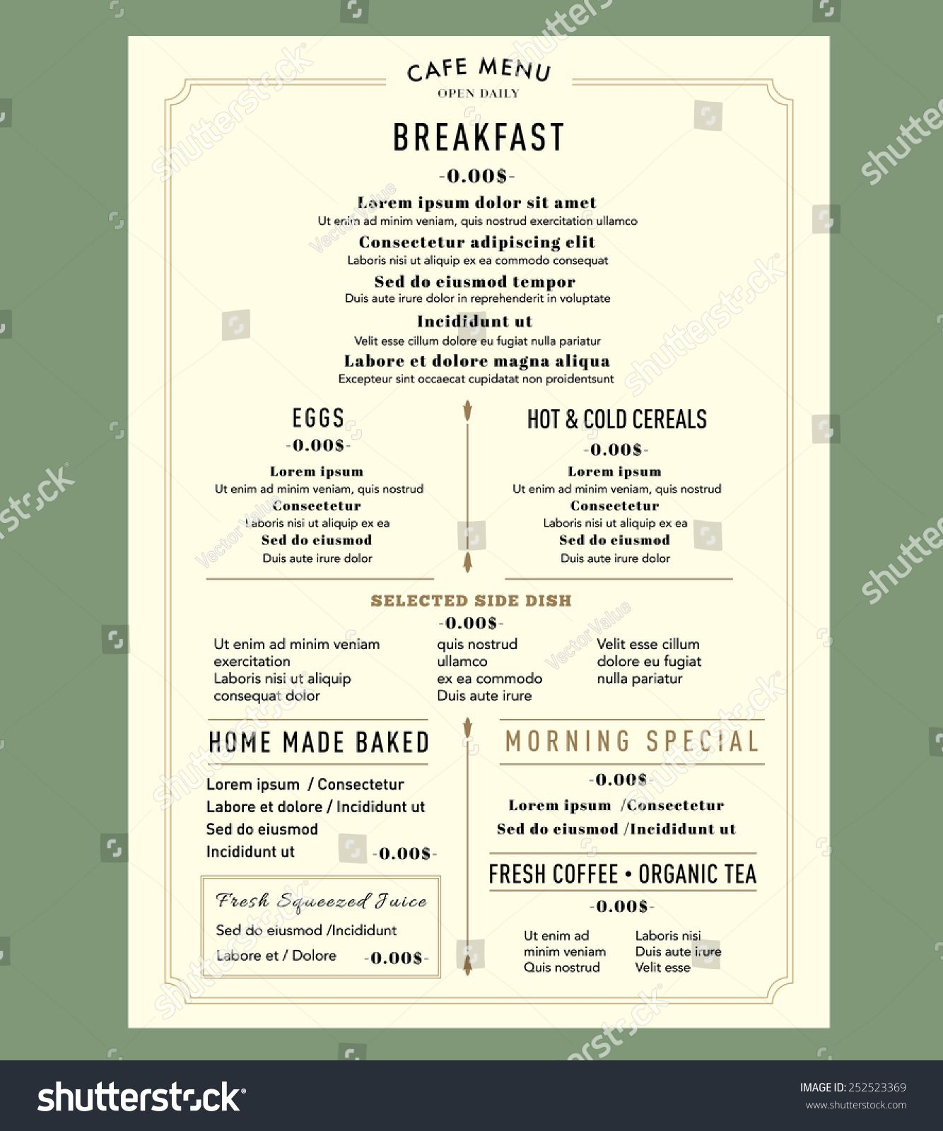 Menu Design For Breakfast Restaurant Cafe Graphic Design Template Layout  Vintage Style