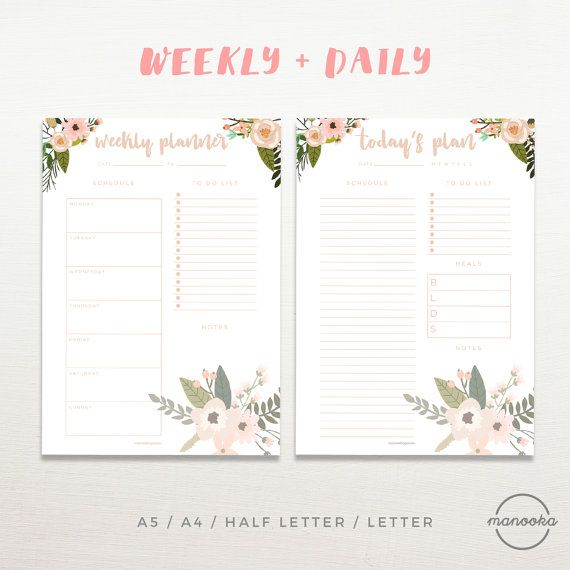 Floral Daily Planner Printable Inserts Bundle Weekly Planner A5 A4