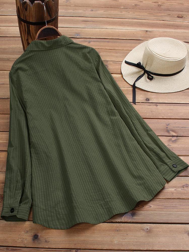 Vintage Lapel Button Long Sleeve Plus Size Shirt 13