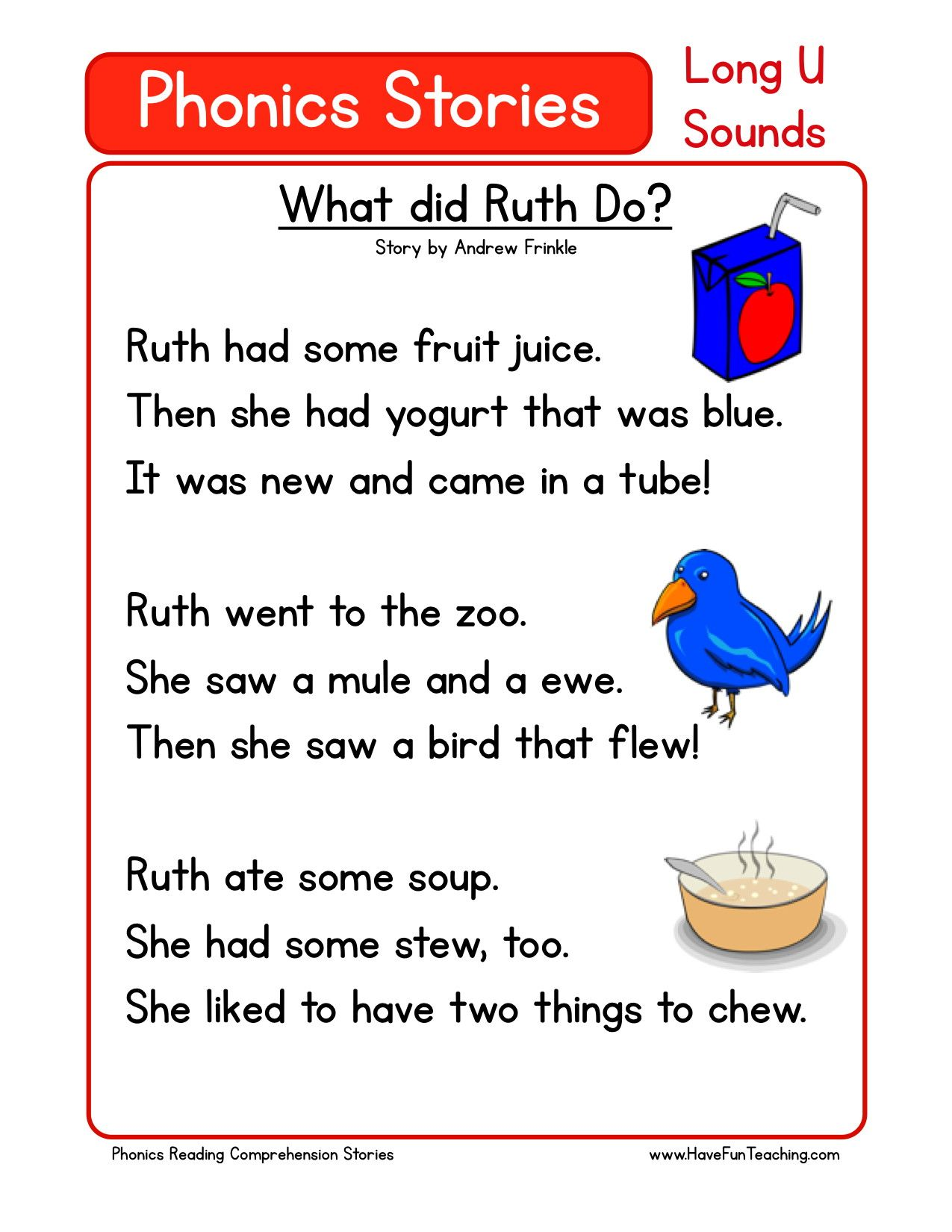 Reading Comprehension Worksheet What Did Ruth Do Reading Comprehension Reading Fluency Phonics Reading Passages [ 1650 x 1275 Pixel ]