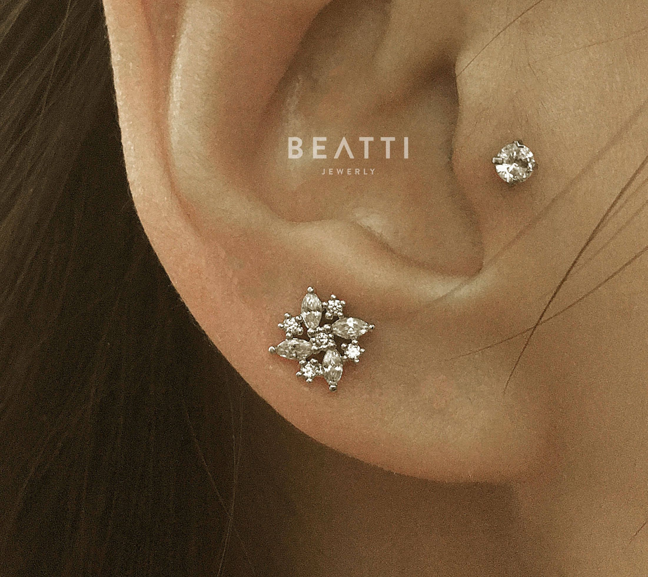 Cz Flower Cartilage Earrings Conch Helix Piercing Jewelry Tragus