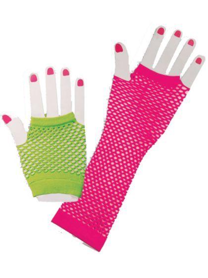 80's Neon Fishnet Glove Set | Wholesale 80s Accessories