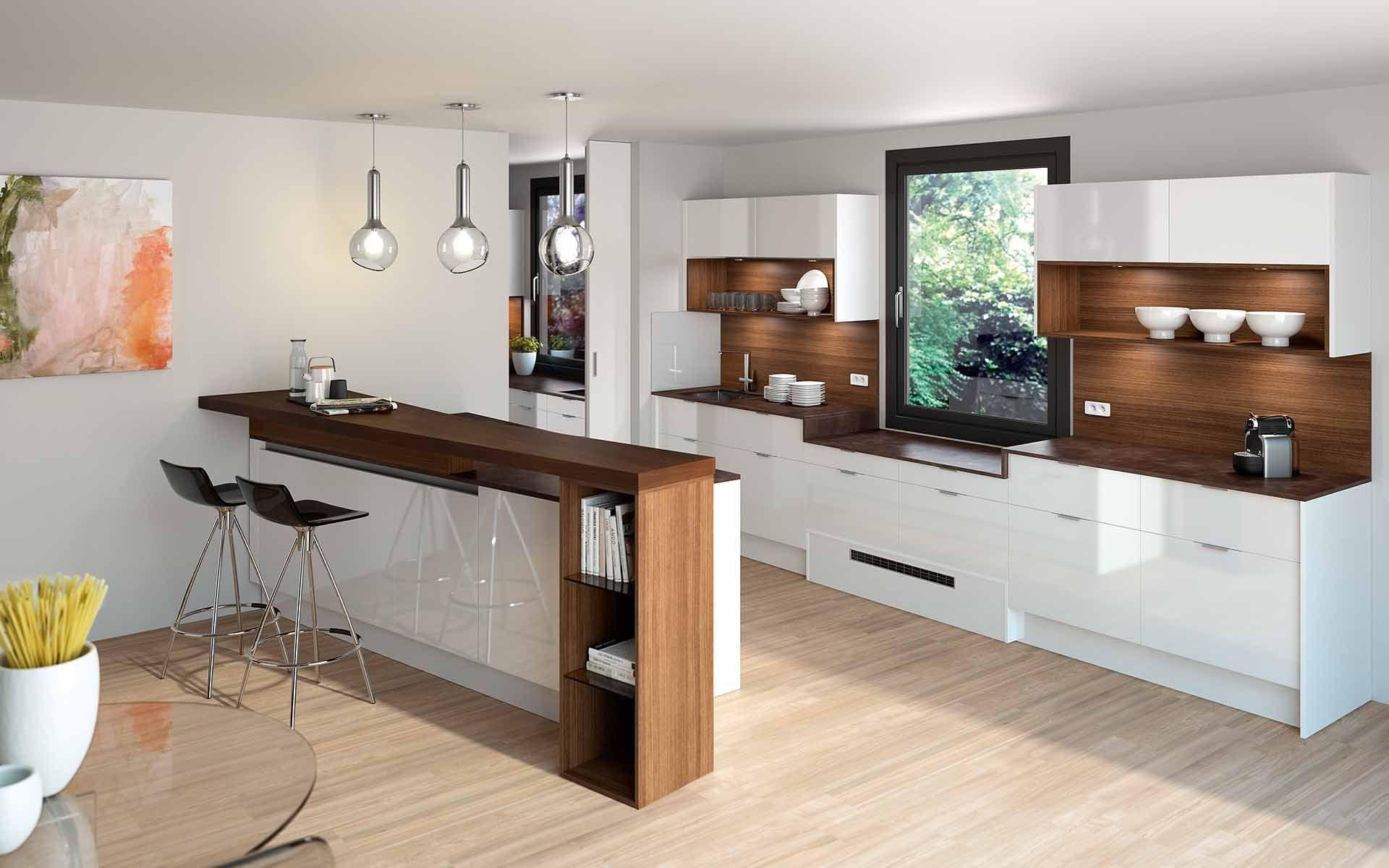 Weiß als Trendfarbe für Küchen, in Kompination mit Holz. Tolle ...