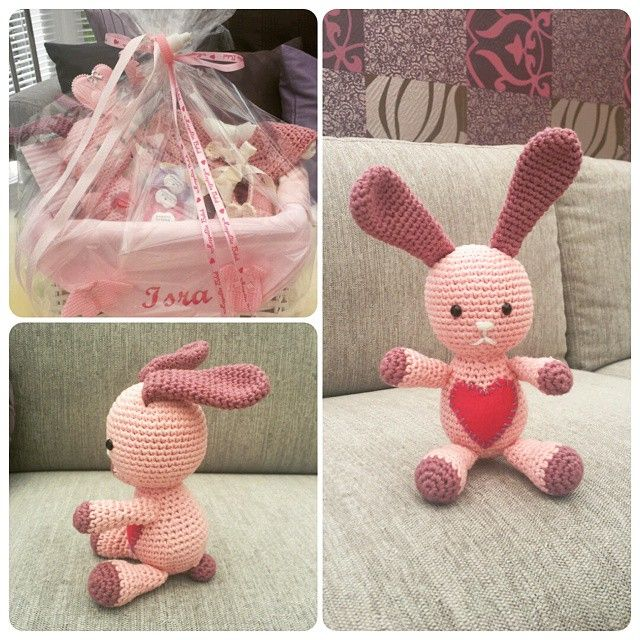 Amigurumi bunny. Pepect for a gift basket :) Bunny pattern: http://www.lilleliis.com/free-patterns/funny-bunny/