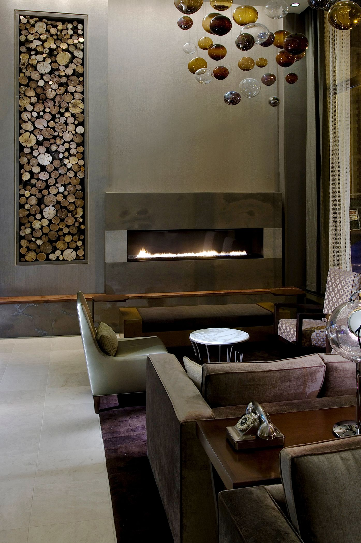 Modern Hotel Room: Lobby Fireplace At Chicago's Premiere Boutique Hotel