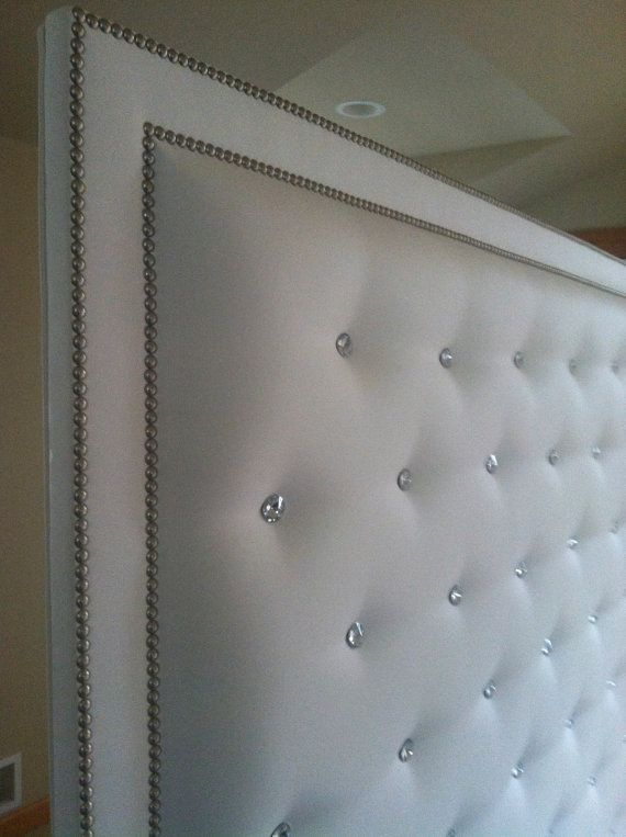 White Faux Leather Crystal Button Tufted by ...