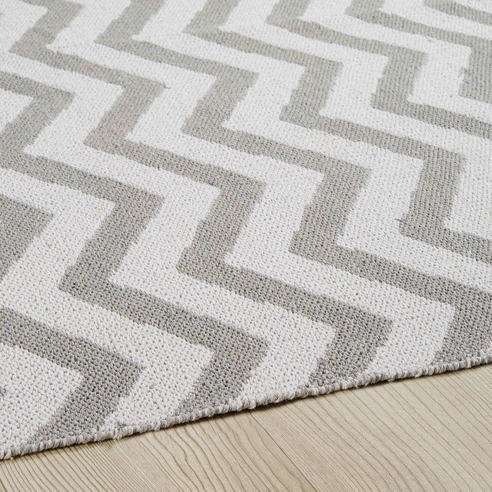teppich mit grauem und weißem fischgrätmuster 160x230cm | babybär