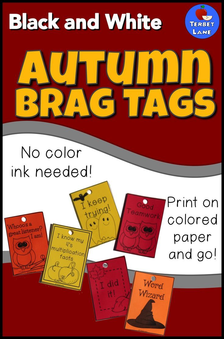 Black And White Autumn Brag Tags Bang TagsColored PaperClassroom