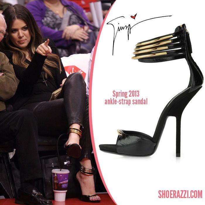7124614cf9214 Khloe Kardashian in Giuseppe Zanotti embellished ankle-cuff sandals ...