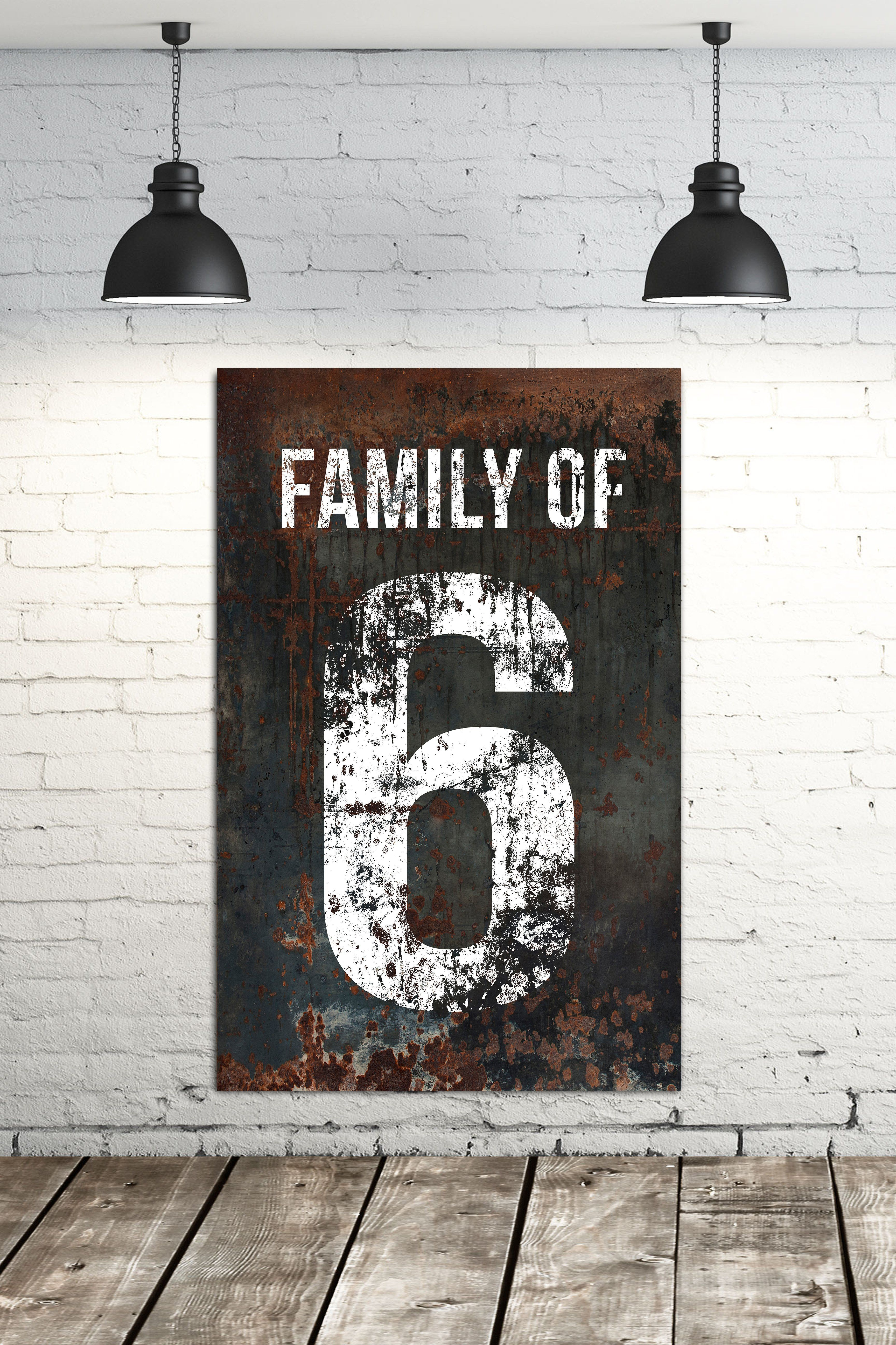 Modern Farmhouse Family Number Sign - Industrial Farmhouse Living Room Wall Decor Canvas Art images