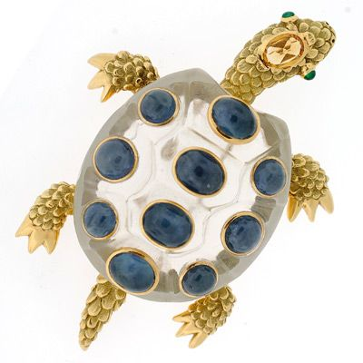 A Brandt and Son - Vintage Seaman Schepps 18kt & Rock Quartz Crystal Turtle Pin