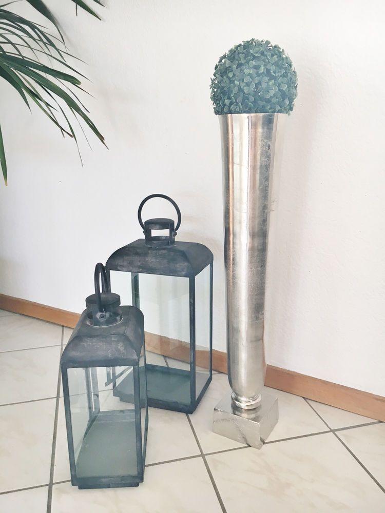 Vase deko viereckig Ø14x74 cm EMPOLI raw nickel, Bodenvase, Dekovase, Blumenvase  | eBay