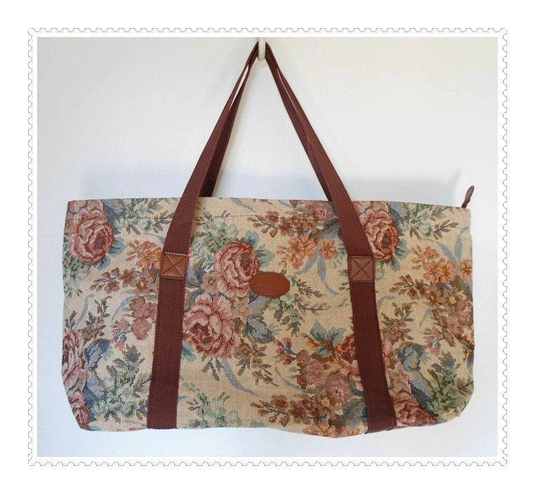 Huge Tapestry Tote BAG Overnight Trip Luggage / Zip Top / Floral Flower Print / Granny Bag. $29.95, via Etsy.