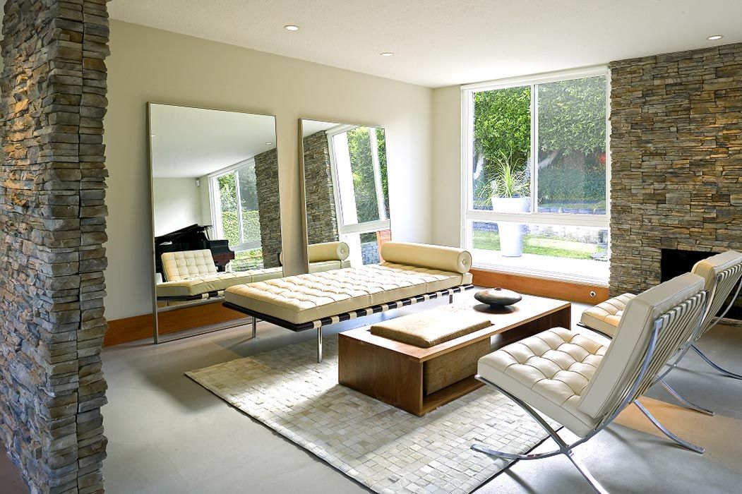 clean sleek and modern best describe this living room