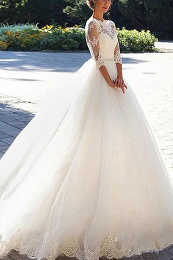 6c08729b632 Ball Gown Lace Wedding Dresses with Sleeves