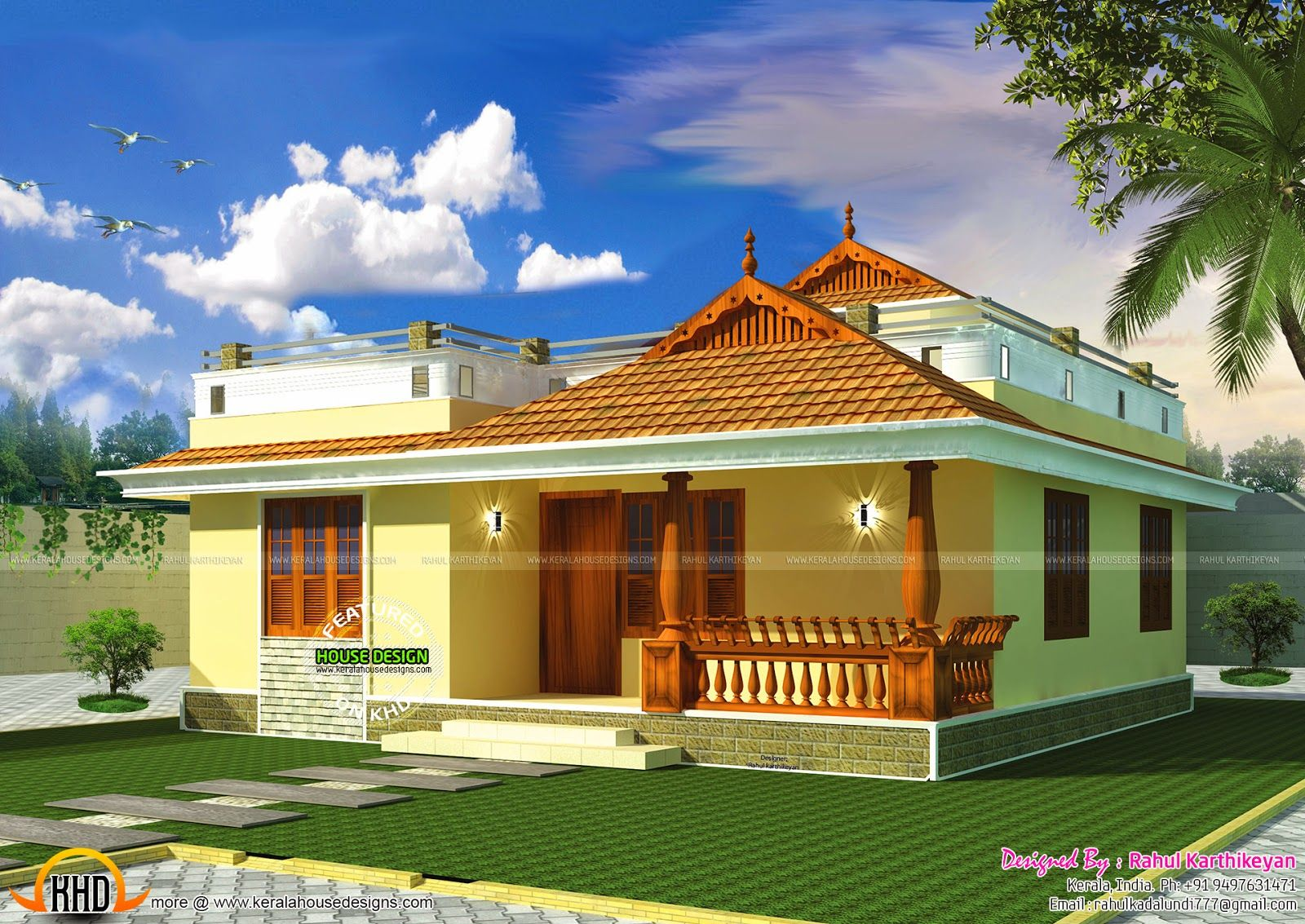 Small kerala style home my sweet home pinterest kerala smallest house and square feet - Kerala exterior model homes ...