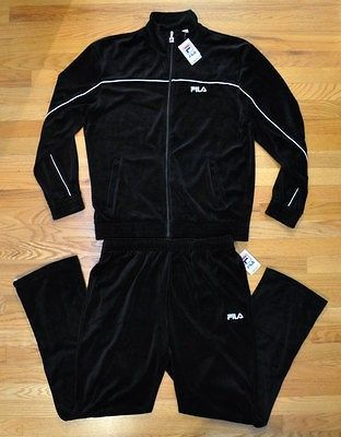 fad09d708c63 NEW FILA MEN VELOUR BLACK TRACK SUIT JACKET PANTS SZ XL